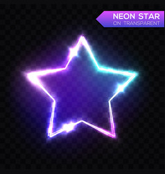 abstract neon star on blue transparent background vector image vector image