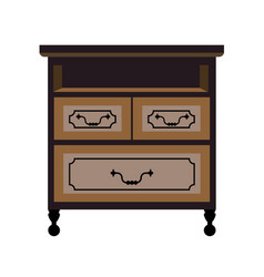 chest of drawers retro furniture piece flat vector image