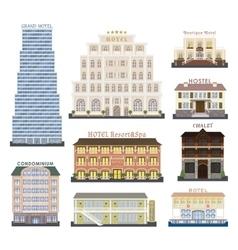 Hotel buildings vector image