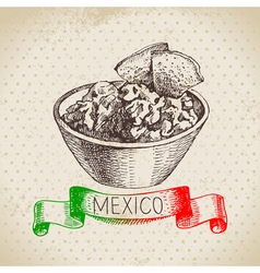 Mexican traditional food background with guacamole vector image vector image