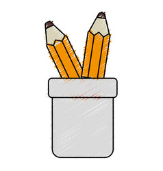 pencil holders isolated icon vector image vector image