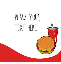 red template with burger and red soda cup vector image
