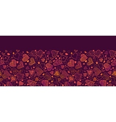 Valentines Day Hearts Horizontal Seamless Pattern vector image