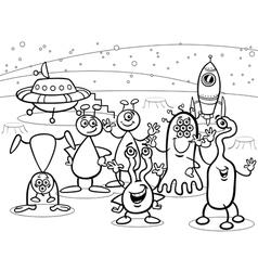 cartoon ufo aliens group coloring book vector image vector image
