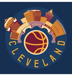 Cleveland Ohio Usa flat design with basketball vector image vector image
