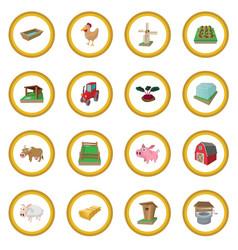 farm cartoon icon circle vector image vector image