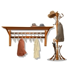 Furniture in dressing room coat hooks in hallway vector image vector image