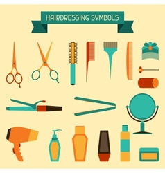 Hairdressing symbols vector image vector image