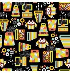 Seamless pattern with owls and vases vector image