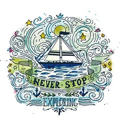 Watercolor vintage label with a ship and hand vector image