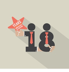18th Years Anniversary Typography Design vector image