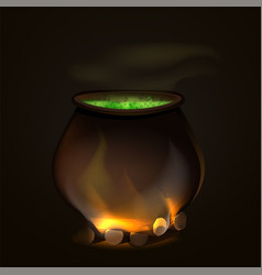 A cauldron for halloween witch a pot for a witch vector