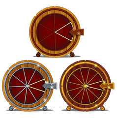 A set of wooden wheel of fortune isolated on a vector