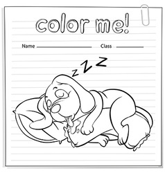 A worksheet with a dog sleeping vector image