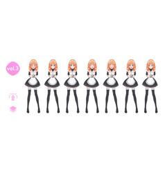 Anime manga girl costume of maid cafe vector