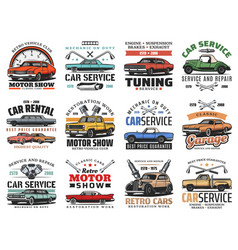 auto repair car mechanic service and motor show vector image