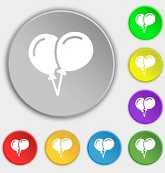 balloon Icon sign Symbol on eight flat buttons vector image