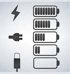 Battery icon charge from high to low plug and vector