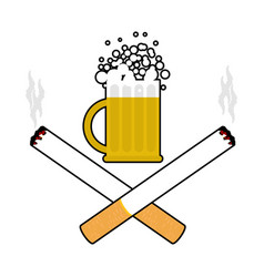 beer and cigarettes alcohol and smoking sign logo vector image