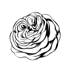 big rose line art tattoo vector image