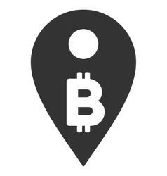 Bitcoin map marker flat icon vector