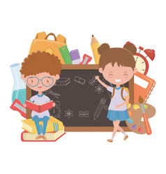 Boy and girl kid school design vector