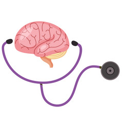 Brain sign with stethoscope in world alzheimers vector