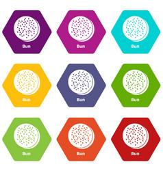 Bun icons set 9 vector