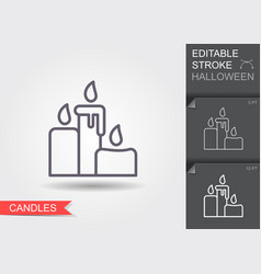 candles line icon with editable stroke vector image