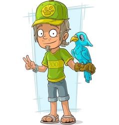 Cartoon standing zoo worker in green vector