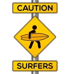 Caution surfers yellow road sign vector image