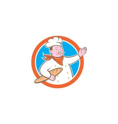 Chef Cook Holding Baguette Circle Cartoon vector image