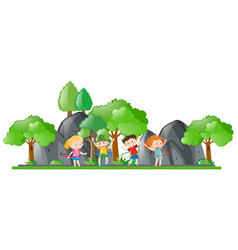 Children doing hulahoop in the park vector