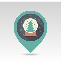Christmas snow globe with tree inside pin map icon vector image