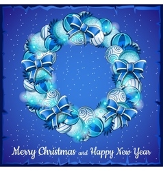 Christmas wreath of balls a holiday card in blue vector image
