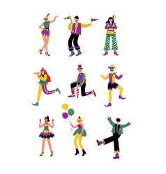 circus artists set stage comedian performer in vector image