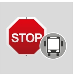 City bus stop road sign design vector