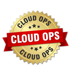 Cloud ops round isolated gold badge vector
