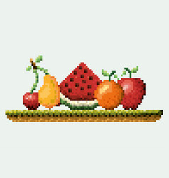 Color pixelated set collection fruits in meadow vector