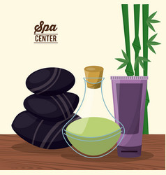 color poster of spa center with bamboo plant and vector image
