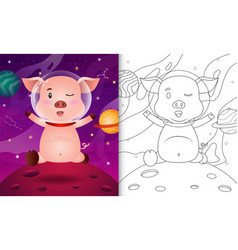 Coloring book for kids with a cute pig vector