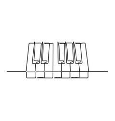 Continuous one line drawing a piano keyboard vector