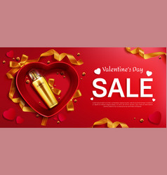 cosmetics bottle for valentine s day sale banner vector image
