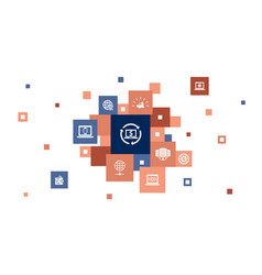 Customer relationship infographic 10 steps pixel vector