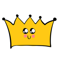 cute crown with eyes on white background vector image