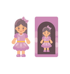 cute doll in pink dress in a box flat icon little vector image