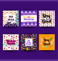 day dead greeting postcards vector image