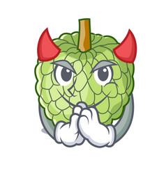 Devil fresh custard apple sweet fruit cartoon vector