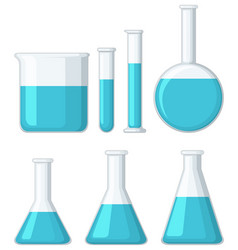 different beakers filled with blue liquid vector image