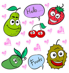Doodle of cute fruit character vector
